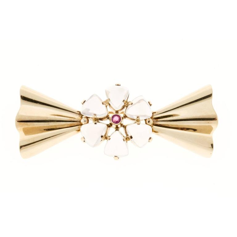 Tiffany & Co. Gem Moonstone and Round Ruby Gold Pin