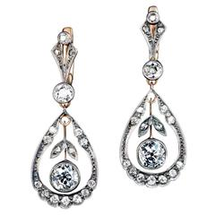 Antique Diamond Silver Gold Drop Earrings