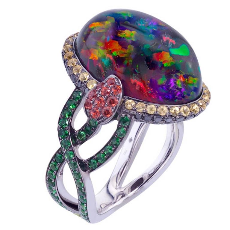 Rare Mexican Fire Opal, Sapphire, Garnet Black Diamonds Ring For Sale