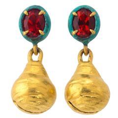 Fire Opal Bronze Gold Santa Fe Bell Earrings