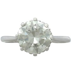 1940s 2.01 Carat Diamond and Platinum Solitaire Ring