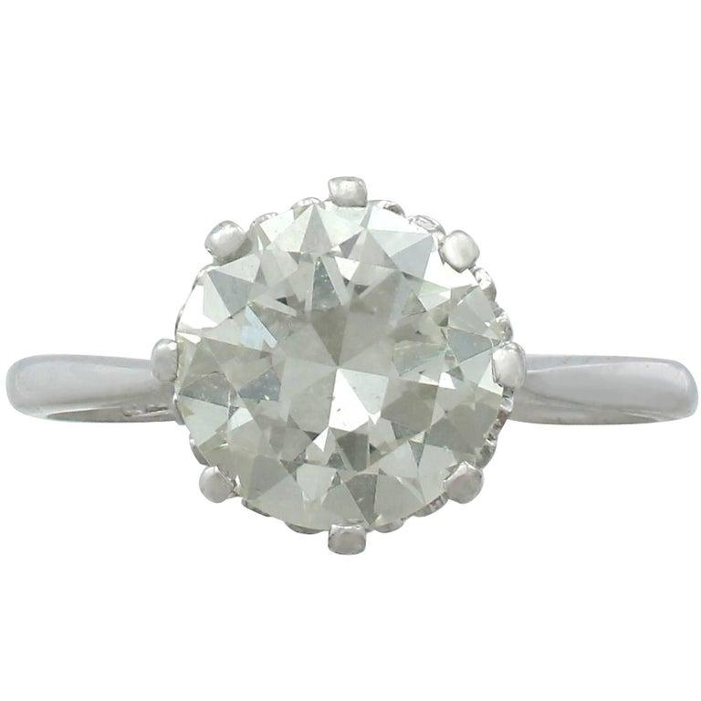 1940s 2.01 Carat Diamond and Platinum Solitaire Ring