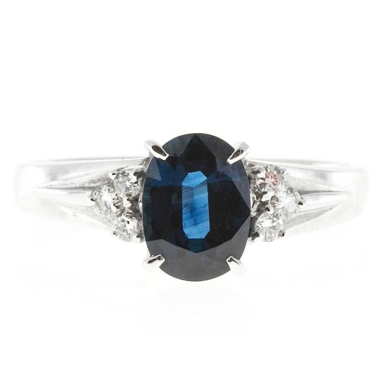 1.45 Carat Cornflower Oval Blue Sapphire Diamond Platinum Engagement Ring