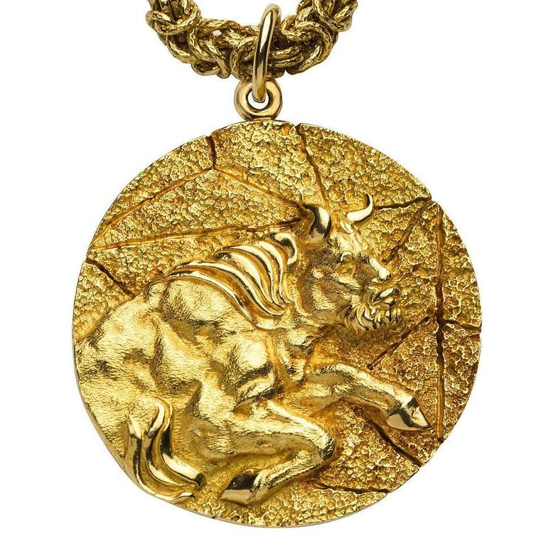 f9f6cd357 Tiffany and Co. Gold Taurus Pendant Necklace at 1stdibs