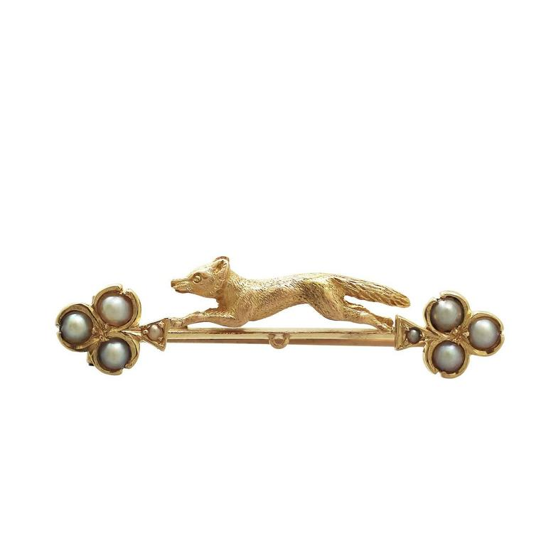 Pearl and 15k Yellow Gold 'Fox' Bar Brooch - Antique ...