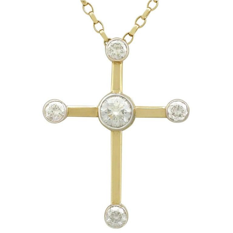 Contemporary 2006 2.86 Carat Diamond and Yellow Gold Cross Pendant