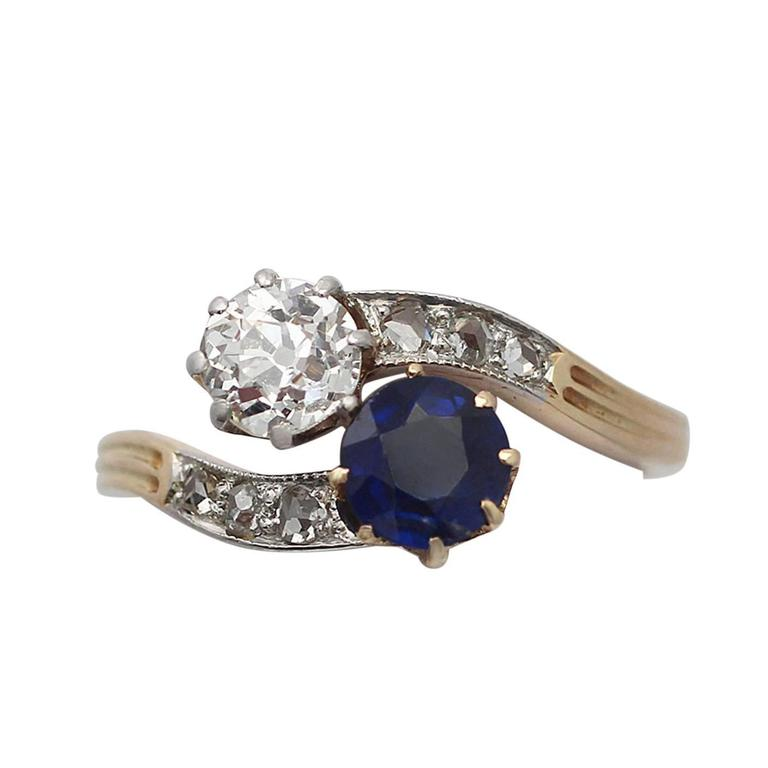 0.45Ct Sapphire & 0.52Ct Diamond, 14k Yellow Gold Twist Ring, Antique Circa 1910