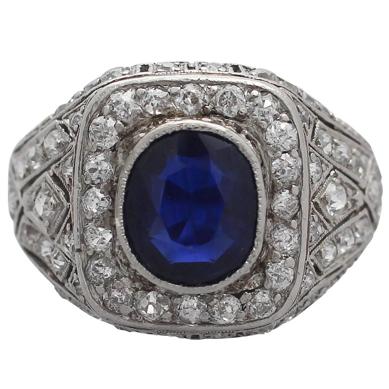 1920s Antique 1 85 Carat Sapphire Diamond Platinum Cocktail Ring