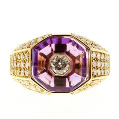 Octagonal Amethyst Diamond Gold Ring