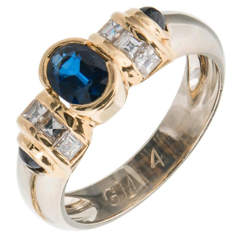 Oval Cabochon Sapphire Square Diamond Gold Engagement Ring