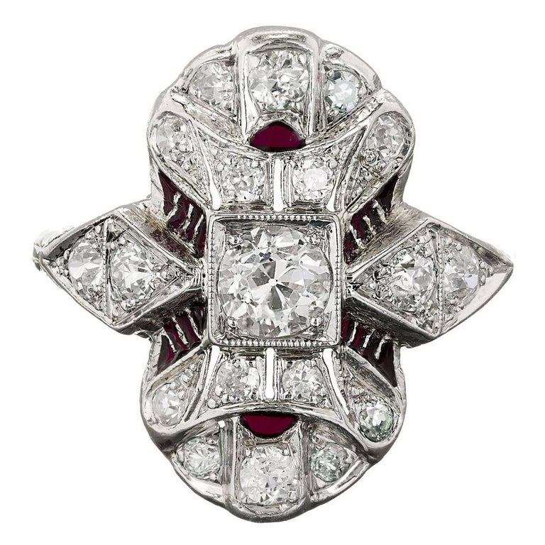 Art Deco Diamond Red Enamel Platinum Filigree Cocktail Ring