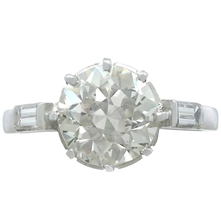 2.78 Carat Diamond and Platinum Solitaire Ring in Art Deco Style, circa 1940