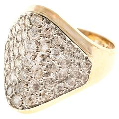 1.50 Carat Pave Diamond Dome Gold Cocktail Ring