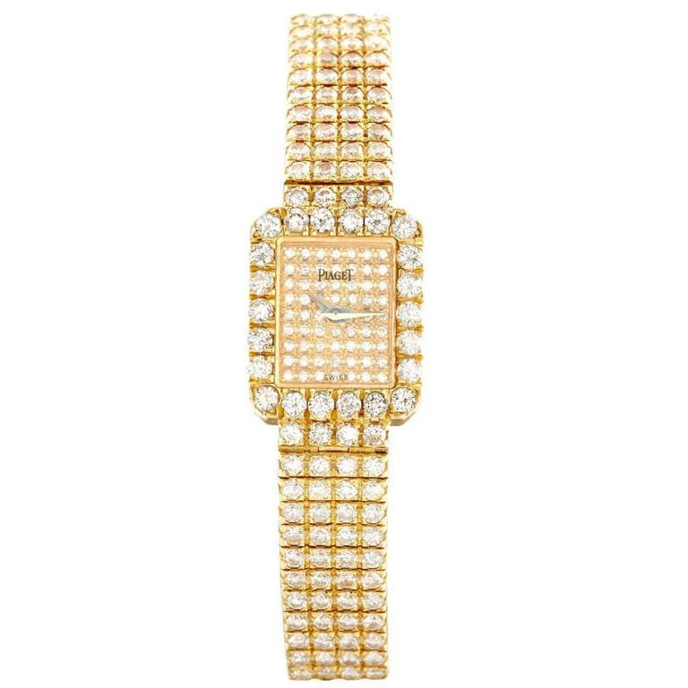 Piaget Lady's Yellow Gold Diamond Pave Wristwatch