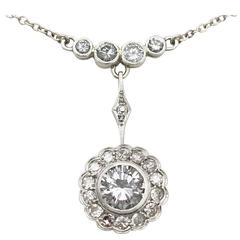 2.24 Carat Diamond and 14 Carat Yellow Gold, Platinum Set Pendant, Antique
