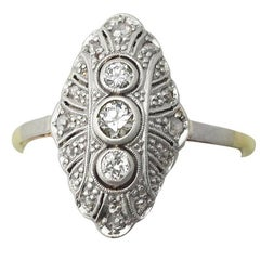 1920s Antique Diamond and Yellow Gold Cocktail Ring