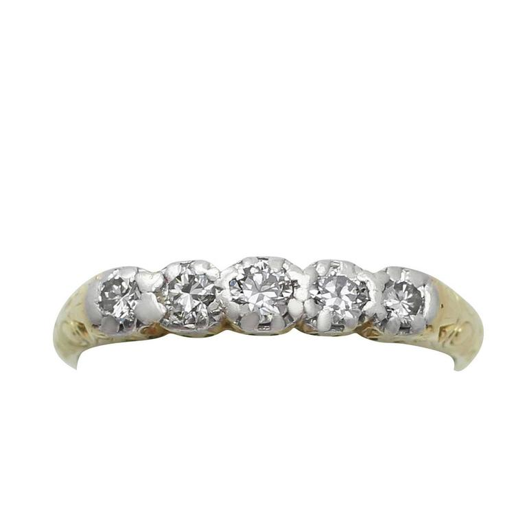 0.30Ct Diamond and 14k Yellow Gold, Five Stone Ring - Antique Circa 1920
