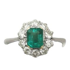 0.88 Ct Emerald and 0.65 Ct Diamond 18k White Gold Cluster Ring - Vintage