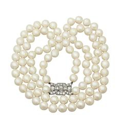 Double Strand Pearl Necklace with 1.78Ct Diamond Set Clasp - Antique & Vintage