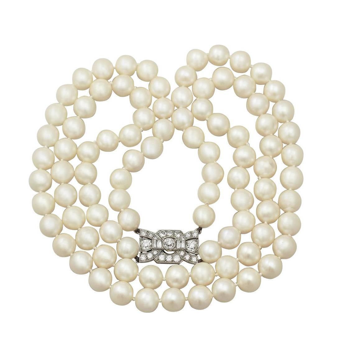 Double Strand Pearl Necklace With 178ct Diamond Set Clasp  Antique &  Vintage