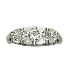1.10 Ct Diamond and Platinum Five Stone Ring - Antique French Circa 1910