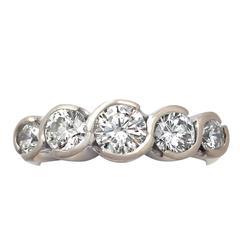 1.92Ct Diamond, 18k Yellow Gold, 18k White Gold Set Five Stone Ring Contemporary