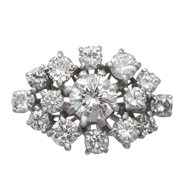 1.75Ct Diamond and 18k White Gold Cluster Ring - Vintage Circa 1950