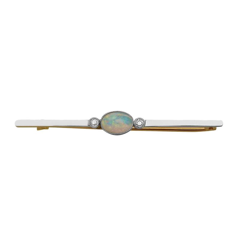 Antique 1910s Opal and Diamond Yellow Gold Bar Brooch