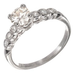 GIA Certified .59 Carat Old European Diamond Platinum Engagement Ring