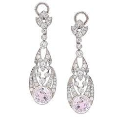 1900s Rose Quartz Diamond Platinum Ear Clips