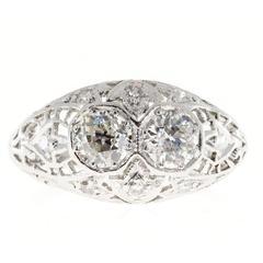 Art Deco Diamond Filigree Dome Platinum Engagement Ring