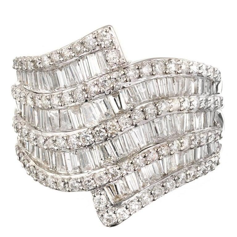 2.80 Carat Diamond Nine Row Tapered Swirl Wide Gold Cocktail Ring
