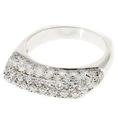 Pave Diamond 1.07 Carat White Gold Dome Ring