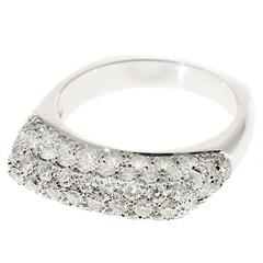 Pave Diamond 1.07 Carat White Gold Dome Ring