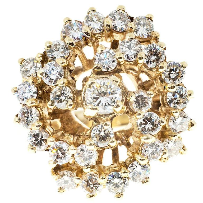 1.50 Carat Large Diamond Swirl Yellow Gold Cocktail Ring For Sale