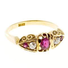 Victorian Natural Red Ruby Diamond Gold Engagement Ring