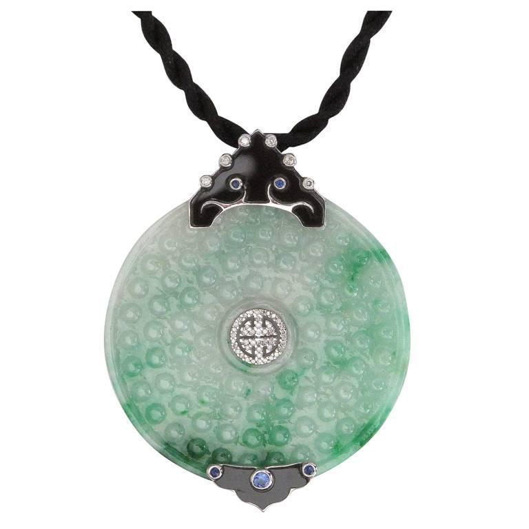 Beautiful Jade Sapphire Diamond Gold Pendant