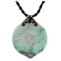 Beautiful Jade Sapphire Diamond Gold Pendant