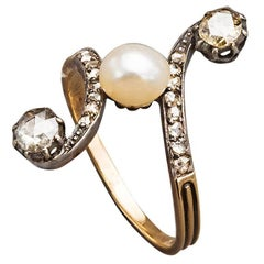 French Pearl Rose Diamond 18k Gold Scrolling Ring, circa 1890