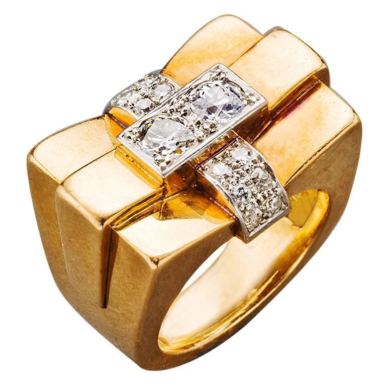 1940s French Diamond Gold Bridge Ring 1