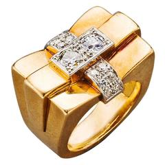 1940s French Diamond Gold Bridge Ring