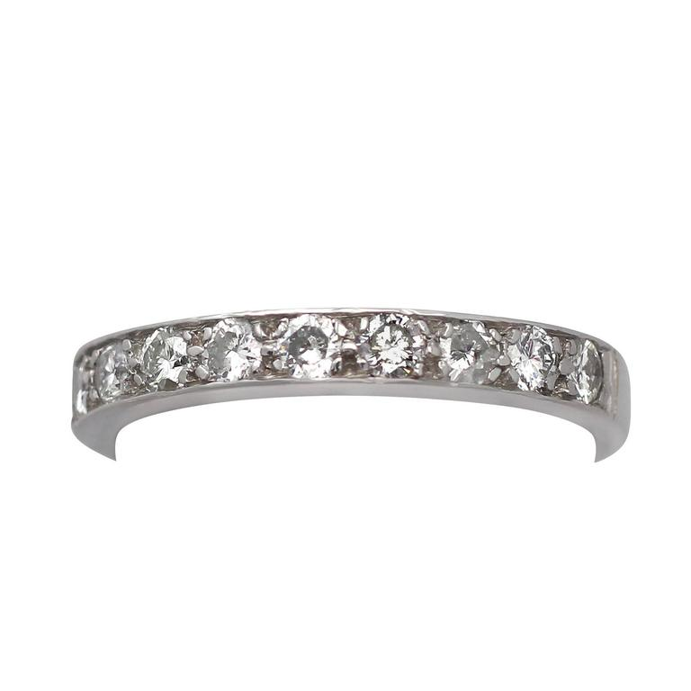0.45Ct Diamond, 18k White Gold Half Eternity Ring - Vintage Circa 1960