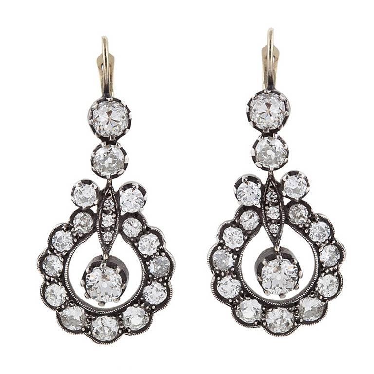 Victorian 9.20 Carats Diamond, 18 Karat Gold, Silver Pendant Earrings