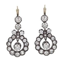 Victorian Diamond Silver Gold Pendant Earrings