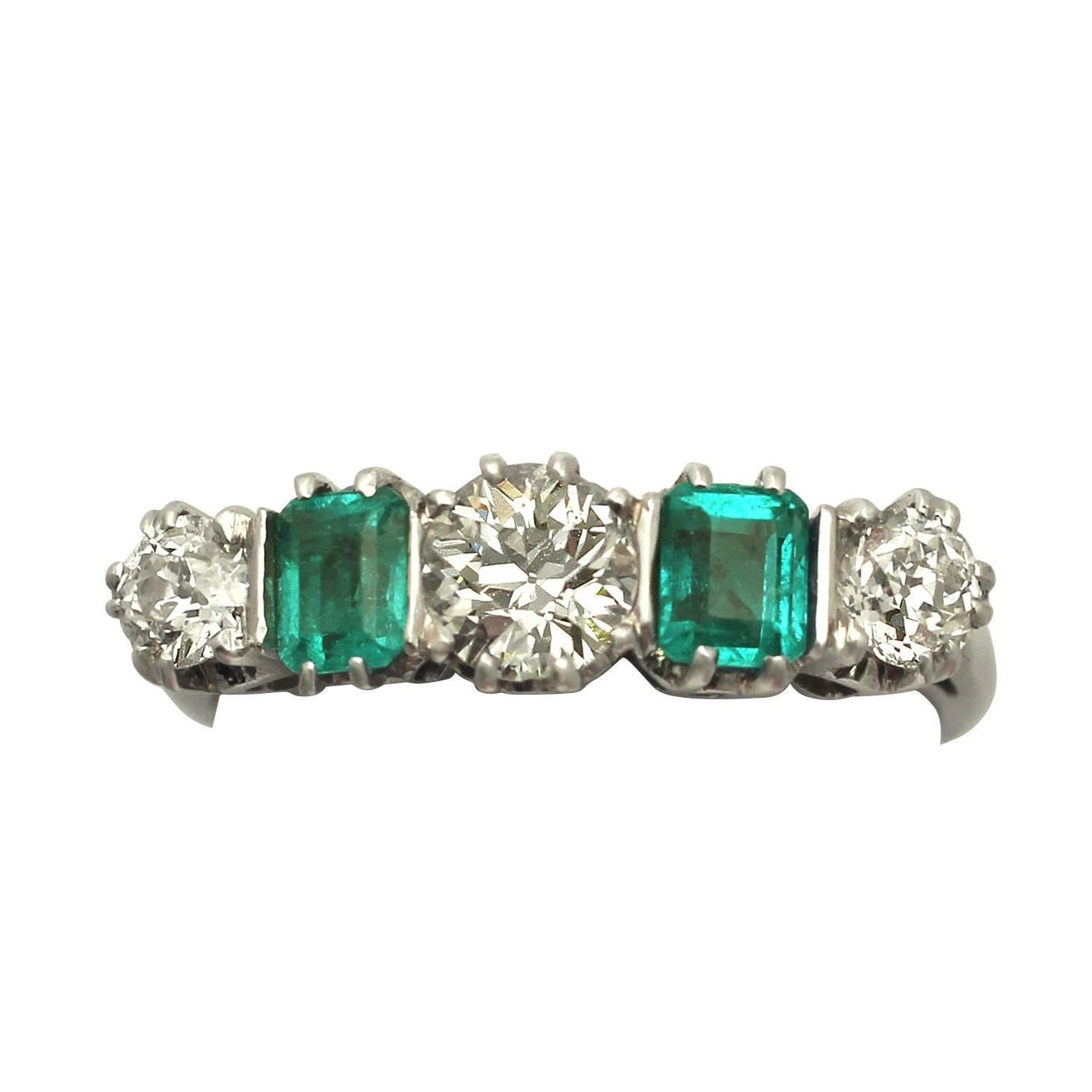 1 18ct and 0 72ct emerald 18k white gold five