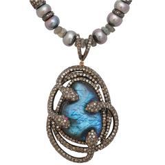 Mysterious Labradorite Pearl Diamond Snake Necklace