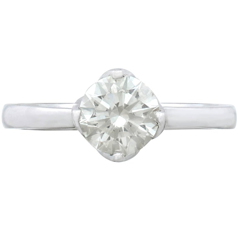 Contemporary 1.01 Carat Diamond and Platinum Solitaire Ring