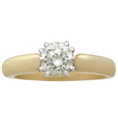 1.02Ct Diamond and Yellow Gold Solitaire Ring - Contemporary