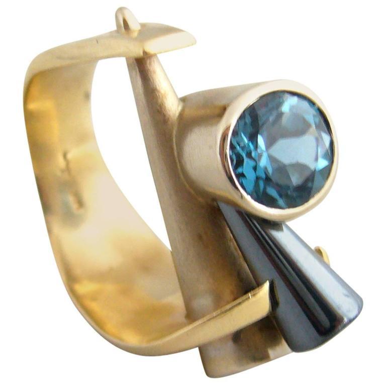 Tanzanite Gold Post Modernist Cocktail Ring 1