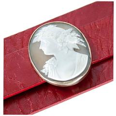 Cameo Leather Cuff Bracelet
